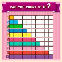 Math worksheet with counting to ten