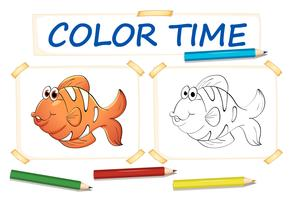 Coloring template with clownfish