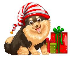 Christmas theme with cute dog and present