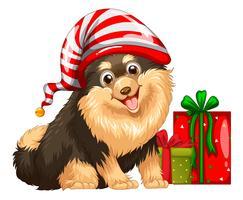 Jultema med söt hund och present