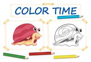 Modèle de coloration avec escargot mignon