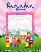 Modelo de plano de fundo com a família muçulmana no parque