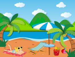 Tjej sola på stranden