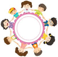 Banner design with kids holding hands in circle