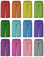 Set of different coloured pants