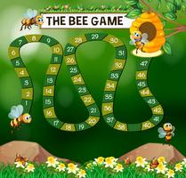 Game template with bees flying in garden
