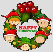 Weihnachtskartenschablone mit Misteln
