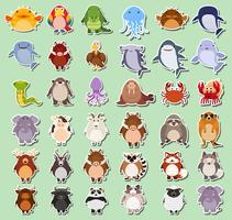 Conjunto de pegatina de animales.