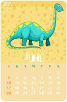 Calendar template for June with dinosaur