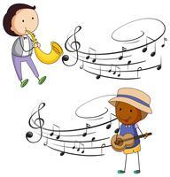 Músicos tocando música com notas no fundo