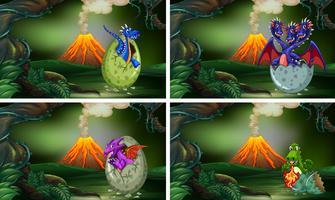 Cuatro escenas con dinosaurios incubando huevos.