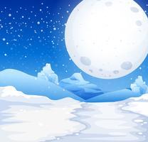 Scène met fullmoon op besneeuwde nacht