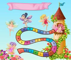 Boardgame design with fairies flying in garden