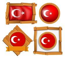 Olika ramkonstruktioner för Turkiets flagga