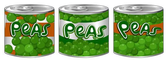 Três latas de ervilhas com logotipo diferente