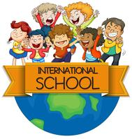 International school sign with children on earth