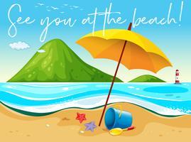 Escena de playa con palabra te veo en la playa