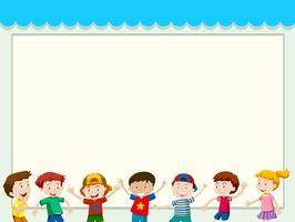 Papierhintergrund mit glücklichen Kindern