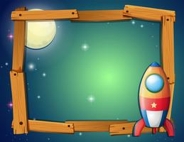 Frame template with rocket and fullmoon background