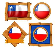 Chile flag on different frames