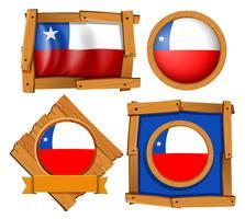 Chile-Flagge auf verschiedenen Bildern