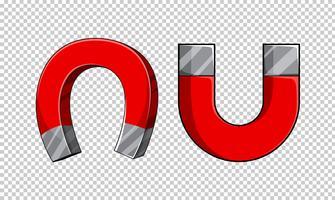 Magneti a forma di U su sfondo trasparente
