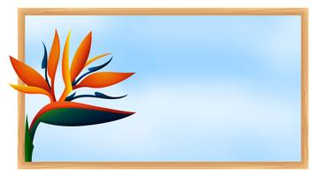 Frame template with bird of paradise flower