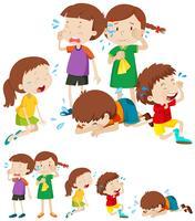 Many sad children crying