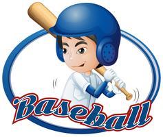 Aufkleberdesign mit dem Jungen, der Baseball spielt