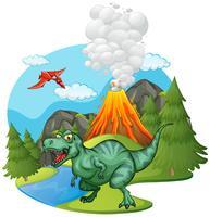T-Rex che ruggisce dal vulcano