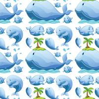 Cute whale seamless pattern