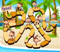 Spelmall med apor på stranden i bakgrunden