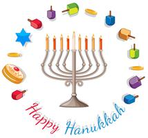 Happy Hanukkah card template with lights and decorations