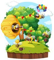 Escena del parque con las abejas volando
