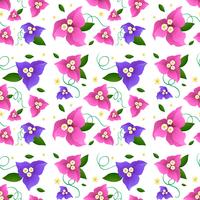 Seamless bakgrundsdesign med bougainvillea blommor