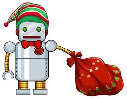 Christmas theme with robot and red bag