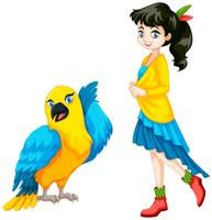 Cute teenage girl and parrot bird