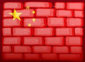 Drapeau de la Chine peint sur brickwall