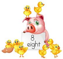 Counting number eight with pig and chicks