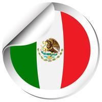Bandeira de Maxico na etiqueta redonda
