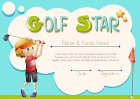 Modello di certificato per stella del golf