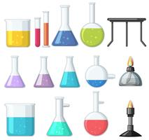 Different types of beakers and burners