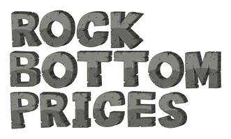 Font deisgn for phrase rock bottom prices