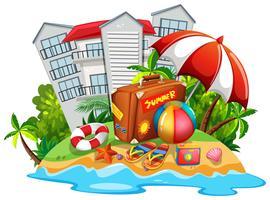 Zomer thema met strand en hotel