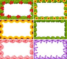 Set of flower border vector