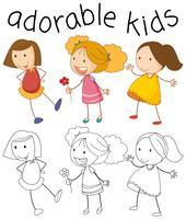 Set of doodle girl vector