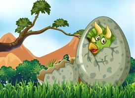 Scene with dinosaur hatching egg vector