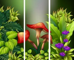 Scène avec des fleurs et des feuilles vertes