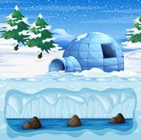 Igloo in the Cold North Pole