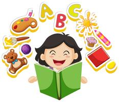 Happy girl reading book alone vector
